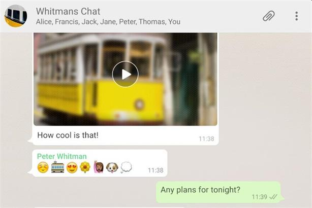 WhatsApp: Brand communications tests began this year.