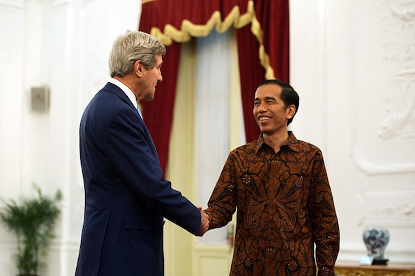 President Widodo meeting US Secretary of State John Kerry in Jakarta last year