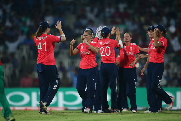 The England women's team: Celebrating a wicket