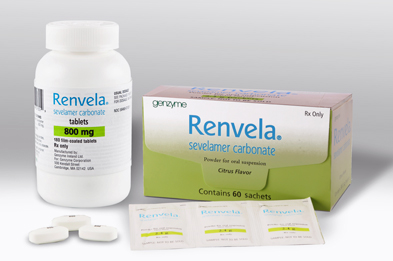 Renvela is available in the same 800mg tablet presentation as Renagel, as well as 2.4g sachets of powder for oral suspension.