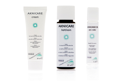 The Aknicare range includes a cream, lotion and skin roller.