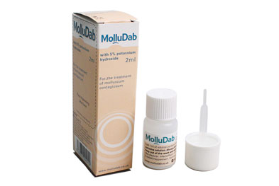 MolluDab should be applied to lesions twice daily, ensuring that the solution does not come into contact with healthy skin.