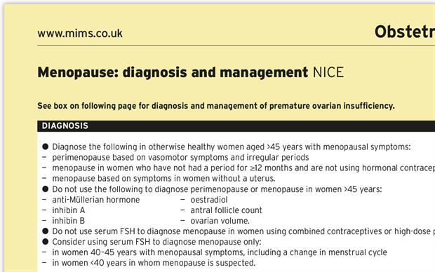 The summary of the NICE menopause guideline will appear in the March issue of MIMS.