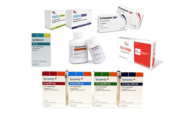 The SGLT2 inhibitors dapagliflozin, canagliflozin and empagliflozin are available as single agents and in combination with metformin.
