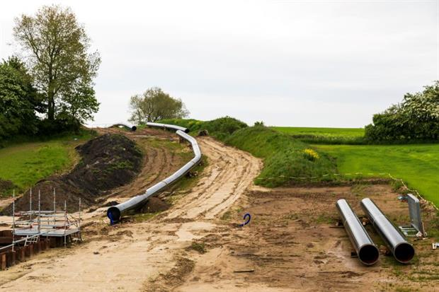 Baltic Pipe construction site seen in Denmark, June 2021. Work on the 900gm gas pipeline, an EU 'project of common interest' has been halted because of concern over its impact on endangered species. Photo: Ole Jensen/Getty Images