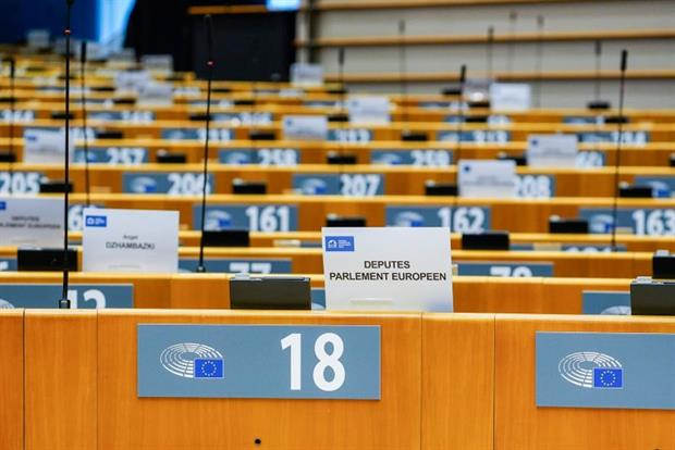 The empty plenary chamber in Brussels, October 2020. The European Parliament is preparing its scrutiny of the Commission's Fit for 55 package. Photo: Daina Le Lardic / EP