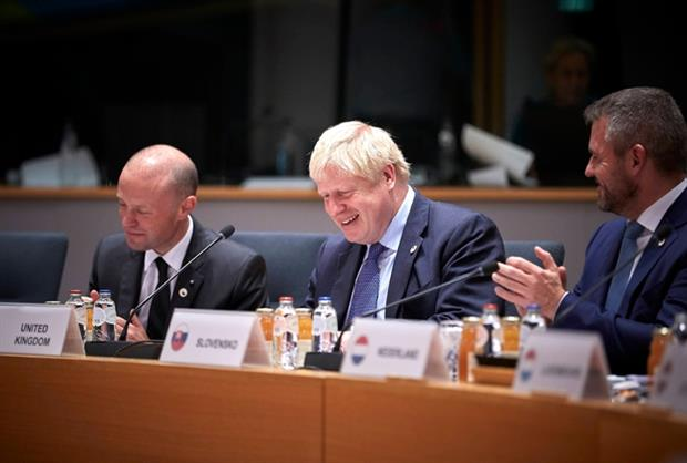 Joseph Muscat, Maltese PM; Boris Johnson, UK PM; Peter Pellegrini, Slovak PM at the European Council 17 October (Image: European Union)