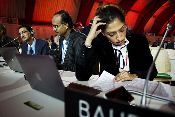 Climate: COP21: Close up of delegates hard at work