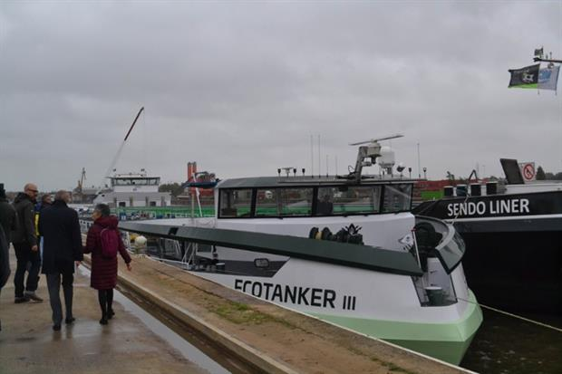 Transport: Green shipping Ecotanker at the Port of Brussels (Image: Laura Cole)