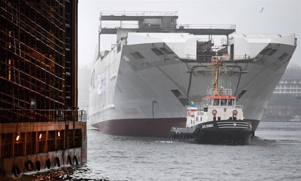 LNG-fuelled ferry 'Honfleur' leaves the naval workshop in Flensburg in December 2018. The fuel is a source of considerable controversy because of its climate impact. Photo: FRED TANNEAU/AFP via Getty Images