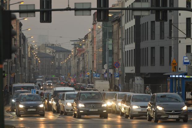 Traffic in Krakow during a smog alert in December 2019. Photo: Artur Widak/NurPhoto via Getty Images