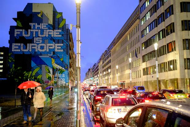 A mural reading 'The Future Is Europe' near Maelbeek metro station in the European quarter of Brussels. The regional government is seeking to ban ICE vehicles entering the city by 2035. Photo: Thierry Monasse/Getty Images