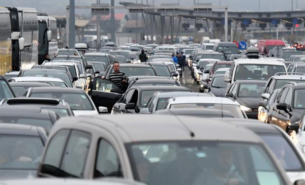 Huge traffic jams at the Bregana border between Croatia and Slovenia, December 2020. Experts have warned car demand is relatively inelastic. Photo: Denis Lovrovic / AFP via Getty