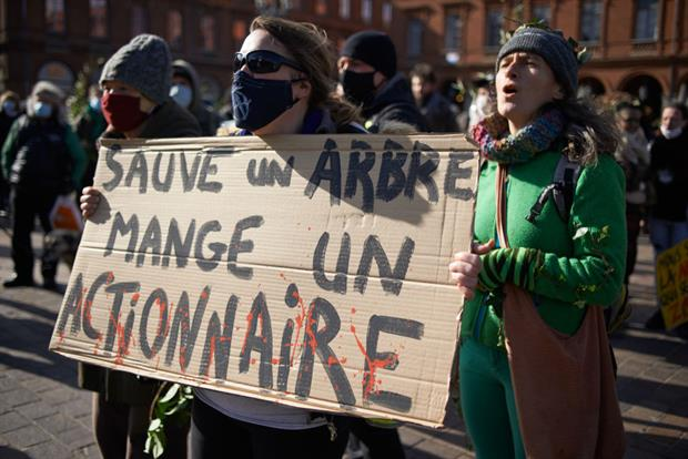 People in Toulouse protest against plans to clear but forests in the French Pyrenees, February 2021. In Brussels, NGOs have harshly criticised plans to label wood burning as green. Photo: Alain Pitton/NurPhoto via Getty Images