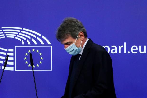 European Parliament president David Sassoli wearing a face mask at a press conference in Brussels, 25 March. Photo: Yves Herman / AFP via Getty