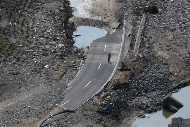 The destroyed B267 federal highway near Mayschoss in western Germany, on July 23, days after floods caused major damage in the Ahr region. Photo: Christof Stache / AFP via Getty Images