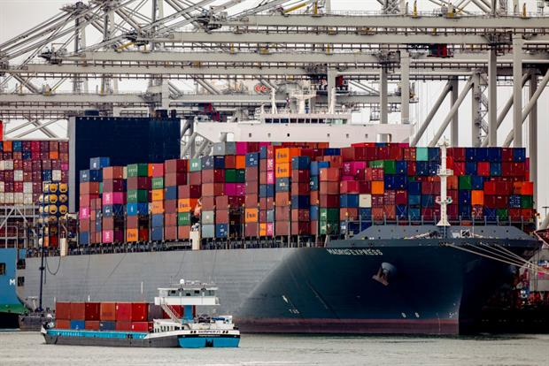 A container cargo ship in Rotterdam Harbour on April 4, 2021. The EU has been urged to include international shipping arriving or leaving from EU ports in an expanded ETS. Photo: Niels Wenstedt/BSR Agency/Getty Images