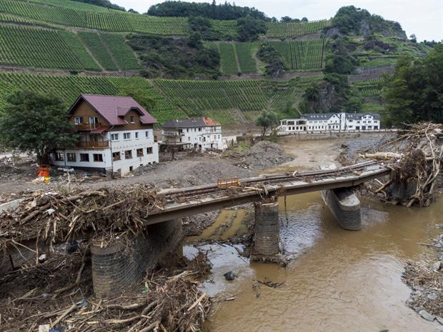 Destroyed houses, hotels and railway tracks in the Ahr Valley last week following catastrophic floods in June. The IPCC says more extreme weather events are now virtually inevitable. Photo: Thomas Lohnes/Getty Images