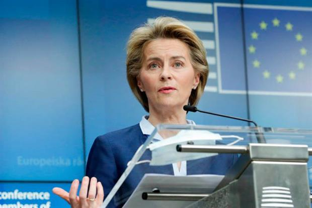 """Von der Leyen: a lot of support"""" for the proposal's green focus (Photo by OLIVIER HOSLET/EPA/AFP via Getty Images)"""
