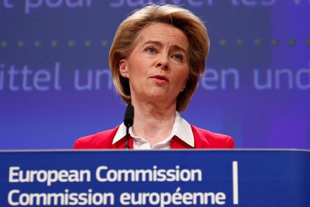 Ursula von der Leyen gives a press conference on EU efforts to limit economic impact of the coronavirus disease (Photo by FRANCOIS LENOIR/POOL/AFP via Getty Images)