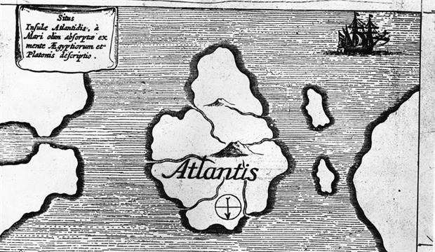 An illustration from the 1600s depicting the island of Atlantis. EU officials are hoping a real-life sunken island will provide a bounty of clean energy. Photo: Fox Photos/Getty Images