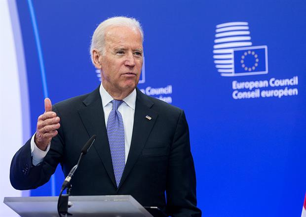 Joe Biden, as US secretary of state, visiting Brussels in 2015. EU officials hope his presidency will strengthen transatlantic relations. Photo: Thierry Tronnel/Corbis via Getty Images