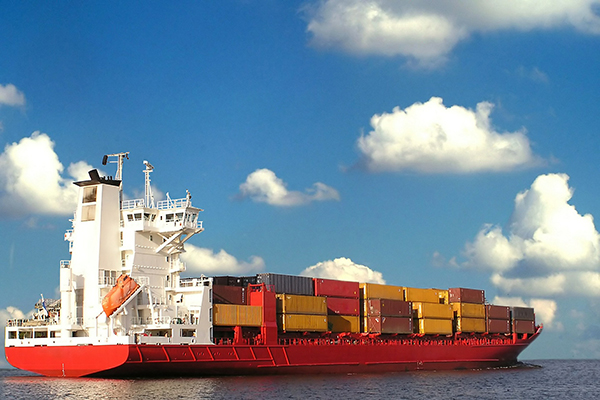 Transport, cargo ship carrying shipping containers
