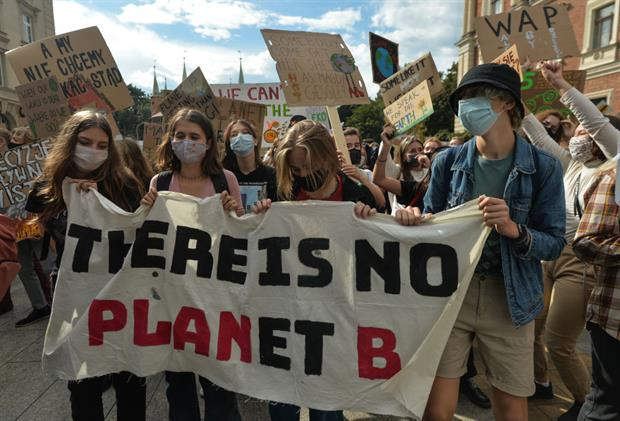 Young people at a 'Krakow For Climate Justice' protest, September, 2020. Photo: Artur Widak/NurPhoto via Getty Images