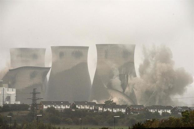 The cooling towers of Ferrybridge C power station are demolished through controlled explosions, northern England, October 2019. Photo: Oli Scarff/AFP via Getty Images
