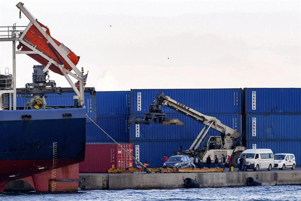 A container at the port of Sousse, about 140km from Tuni, where containers of Italian household waste were blocked from unloading in November 2020. Photo: Fethi Belaid / AFP via Getty Images