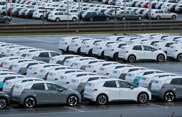 New electric cars outside the Volkswagen factory in Zwickau. The commission is examining ways to encourage the uptake of zero-emissions vehicles. Photo: Sean Gallup/Getty Images