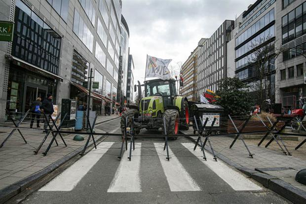 Farmers protest in Brussels earlier this year (Photo by Nicolas Economou/NurPhoto via Getty Images)