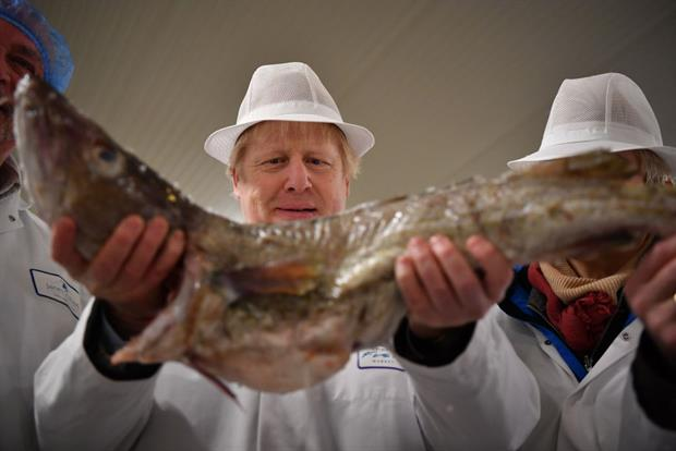 Boris Johnson holding aloft a cod in December 2019. Europe waits with baited breath to see whether the UK and EU can overcome their differences on post-Brexit fishing rights. Photo: Ben Stansall/WPA Pool/Getty Images