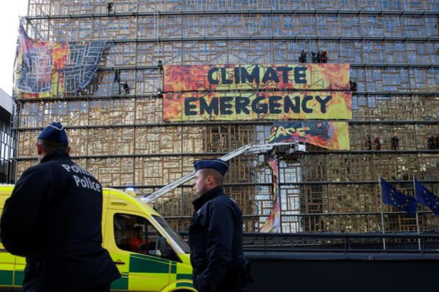 Climate emergency: Greenpeace protest in Brussels in 2019 (Photo by ARIS OIKONOMOU/AFP via Getty Images)