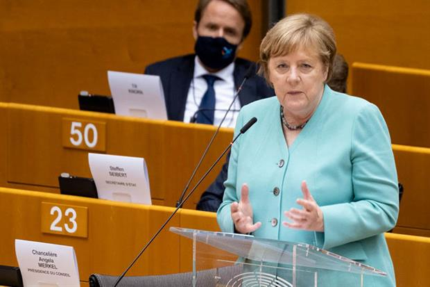 Merkel and fellow government leaders are due to convene in Brussels on Friday to thrash out details of the EU's economic recovery package (Photo by Thierry Monasse/Getty Images)