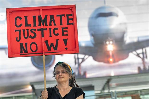 Protest: green campaigners say CORSIA is a relatively toothless way to tackle aviation's growing CO2 emissions (Photo: PETER KNEFFEL/DPA/AFP via Getty Images)