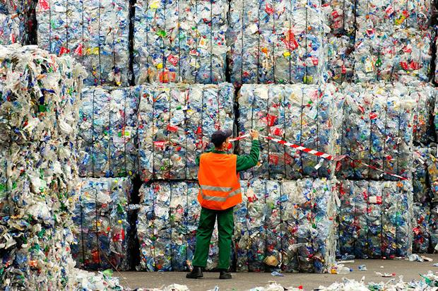 Storage of bottles for recycling at the APPE plant in France. Photo: Andia/Universal Images Group via Getty Images