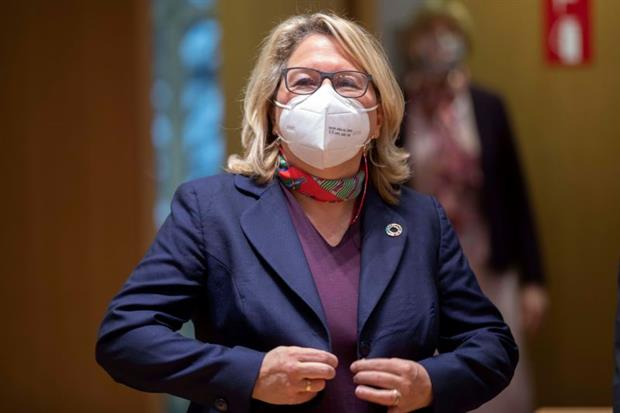 """German environment minister Svenja Schulze chaired Thursday's Environment Council. She said the new goal """"sets an example internationally"""". Photo: European Union"""
