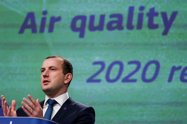"""Sinkevicius: the European Commission intends to """"dramatically increase our efforts to cut our emissions"""" (Photo by KENZO TRIBOUILLARD/POOL/AFP via Getty Images)"""