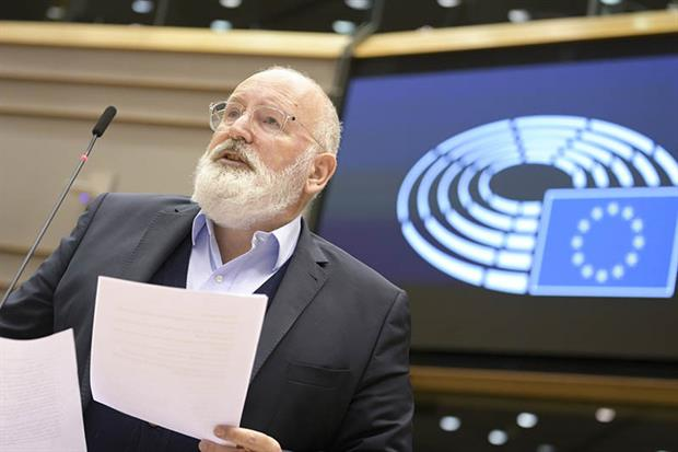 Frans Timmermans: Green deal chief addresses a plenary session on the climate law earlier this week (image: Laurie DIEFFEMBACQ, © European Union 2020 - Source : EP)