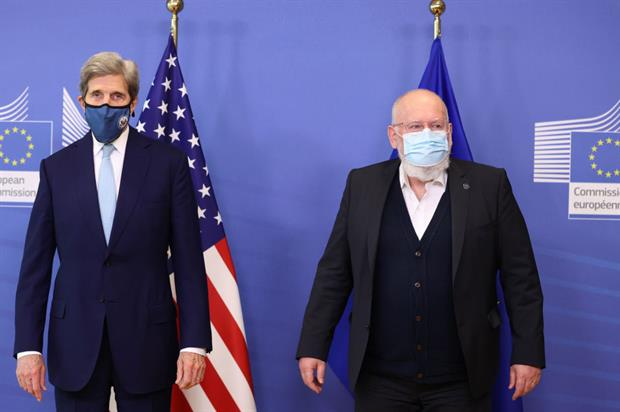 Timmermans pictured with US climate envoy John Kerry earlier this month (Photo by Dursun Aydemir/Anadolu Agency via Getty Images)