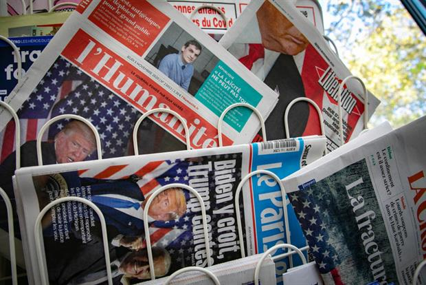 French newspapers covering the electoral showdown between president Donald Trump and his Democratic challenger Joe Biden on Thursday. Photo: Marc Piasecki/Getty Images