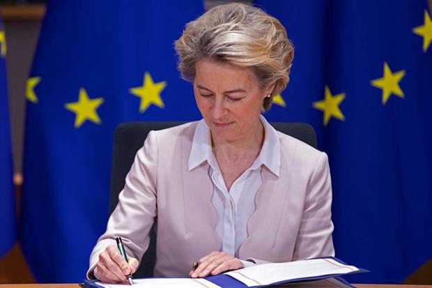Ursula von der Leyen attends a Brexit signature ceremony in Brussels on 30 December (Photo by Thierry Monasse/Getty Images)