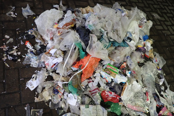 Some of the contamination found in Biffa's consignment of paper, bound for India. Photograph: Environment Agency