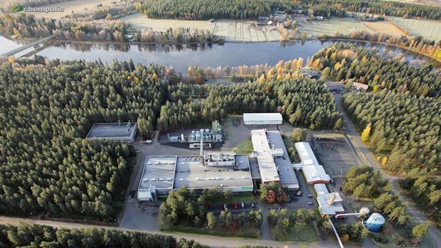 Chempolis biorefining park, aerial view, photo taken by Sampo Anttila