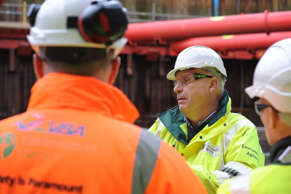 Environment Agency inspectors in  action. Photograph: Environment Agency/James Fletcher