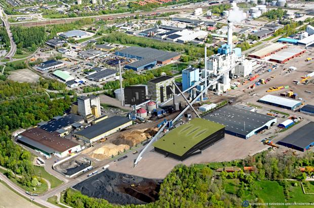 Mälarenergi's new waste-fired unit, in the centre of the picture, will enter operation next year