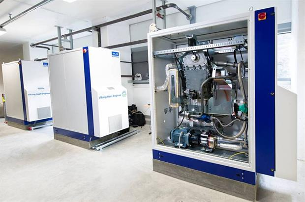 Three of Viking Heat Engines' CraftEngine units at Returkraft's EfW plant in Kristiansand, Norway