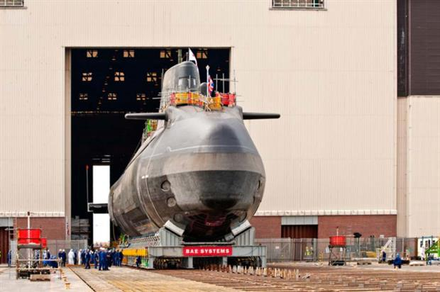 A new submarine built at the Barrow in Furness yard. Credit: BAE Systems