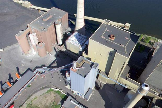 The gasification unit (in blue) has cut the Vaasa plant's coal consumption by a third Credit: EPV Energia Oy